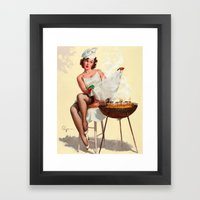 Barbecue Pin-Up Girl Framed Art Print
