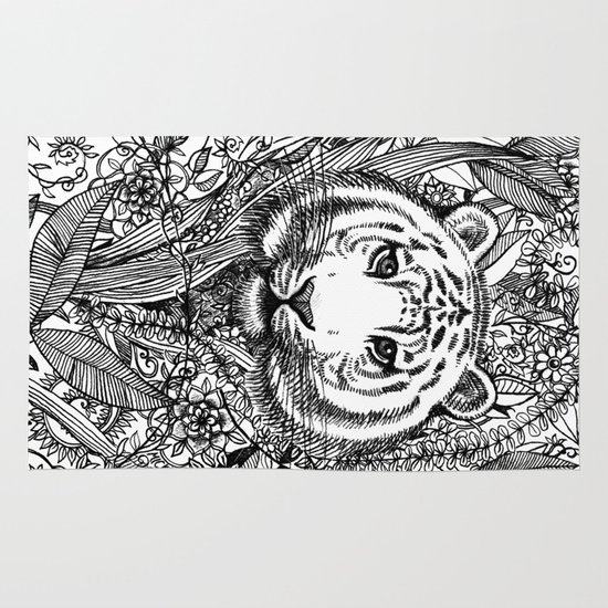 Tiger Tangle in Black and White Area & Throw Rug