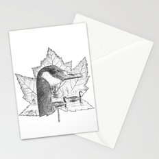 Canada Goose on Maple Leaf Stationery Cards