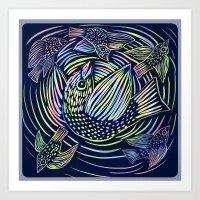 Bird Swirl Art Print