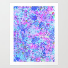 TIME FOR BUBBLY, AGAIN - Pastel Turquoise Baby Blue Purple Pink Feminine Bubbles Abstract Painting Art Print