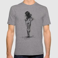 Nude female figure Mens Fitted Tee Athletic Grey SMALL