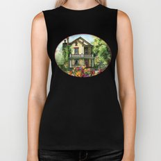 Farmhouse with Spring Tulips Biker Tank