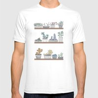 Quirky Succulents Mens Fitted Tee White SMALL