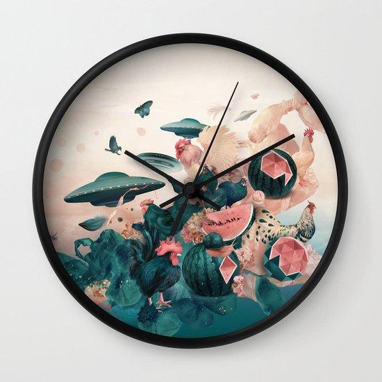 Watermelon&Black cock Wall Clock