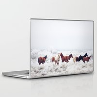 horses Laptop & iPad Skins featuring Winter Horseland by Kevin Russ
