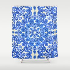 Cobalt Blue & China Whit… Shower Curtain