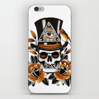 Smoking Skull And Roses  iPhone & iPod Skin
