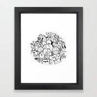 Happy Circle Doodle Framed Art Print