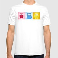 Bright Owls Mens Fitted Tee White SMALL