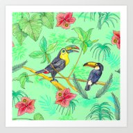 Watercolour Toucans Art Print