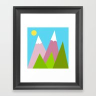 Pines And Pink Mountains Framed Art Print