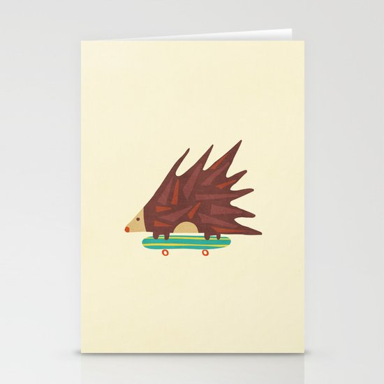 Hedgehog in hair raising speed Stationery Card