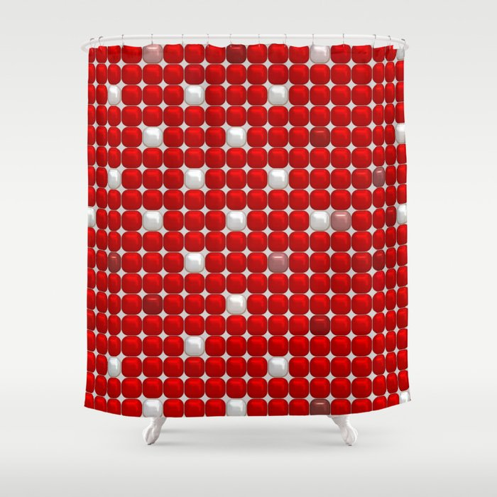 Red And White Ceramic Shower Curtain By MehrFarbeimLeben