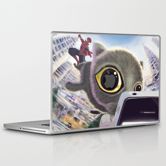Falling Cat & Hero Laptop & iPad Skin
