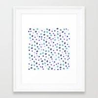 Stylish blue purple hand painted watercolor polka dots pattern Framed Art Print