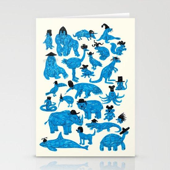 Blue Animals Black Hats Stationery Card