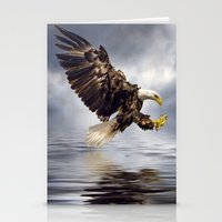 Bald Eagle swooping Stationery Cards
