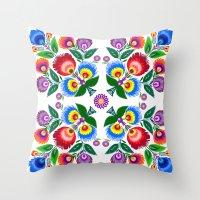 folk flowers square Throw Pillow
