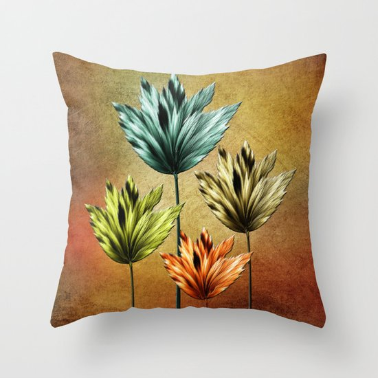 Four Fractal Flowers Throw Pillow