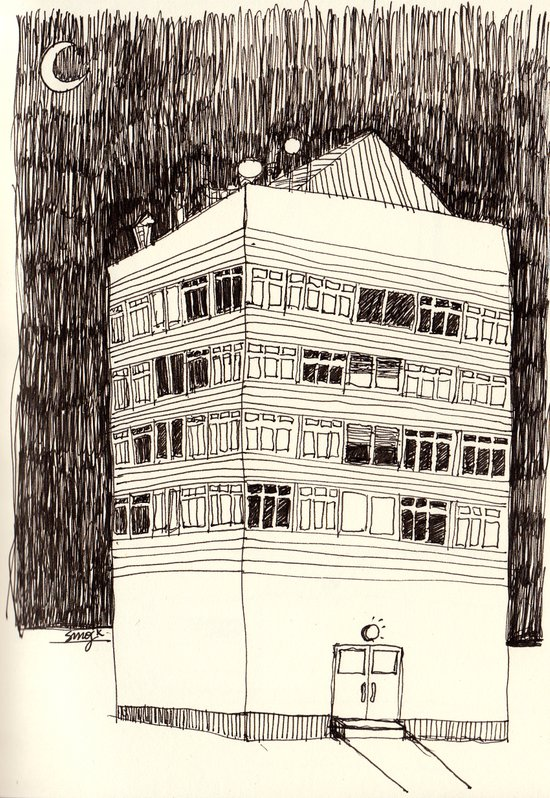 Building at Night with the Moon Art Print
