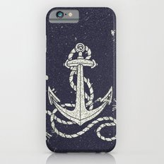 Navy Blue Nautical White Anchor for Sailor Texture iPhone 6 Slim Case