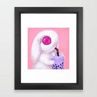 Bunny Loves Bubble Tea Framed Art Print
