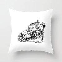 Pig Skull Throw Pillow