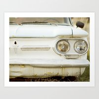Vintage Rustic Car Light Blue White Art Print