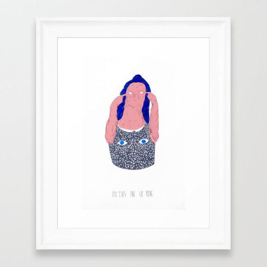 my eyes are up here Framed Art Print