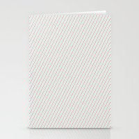 Red and Aqua Stripes Stationery Cards