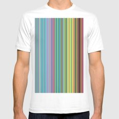 STRIPES23 White Mens Fitted Tee SMALL