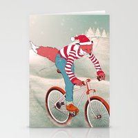 rushing home for christmas Stationery Cards