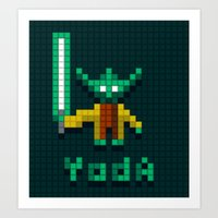 Yoda By Qixel Art Print