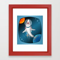 shark in space Framed Art Print