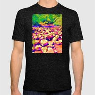 Colorful Rocky Riverbed Mens Fitted Tee Tri-Black SMALL
