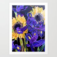 Sunflower & Iris Art Print