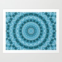 Light Blue Kaleidoscope / Mandala Art Print