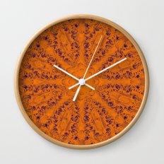 Orange and blue mandala Wall Clock