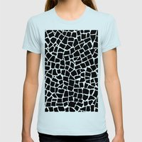 British Mosaic Black and White Womens Fitted Tee Light Blue SMALL