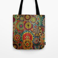 Tote Bag featuring Kashmir On Wood 01 by Aloke Design