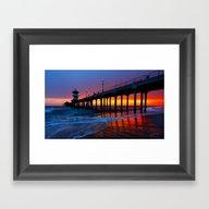 Sunset Huntington Beach … Framed Art Print