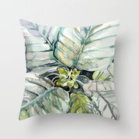 Poinsettia Watercolors Throw Pillow