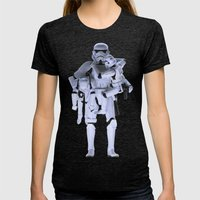 Trooper With Kids Womens Fitted Tee Tri-Black SMALL