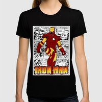 Iron Man Comic Womens Fitted Tee Black SMALL