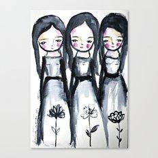 3 girls black and white Canvas Print