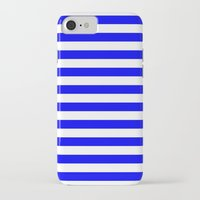 stripes iPhone & iPod Cases featuring Horizontal Stripes (Blue/White) by 10813 Apparel