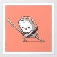 Samurai sushi - Salmon Art Print