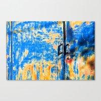 Blue rusty door Canvas Print