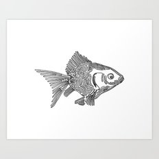 Goldfish, One Liner Art Print